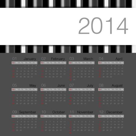 black minimal calendar 2014 year vector Vector