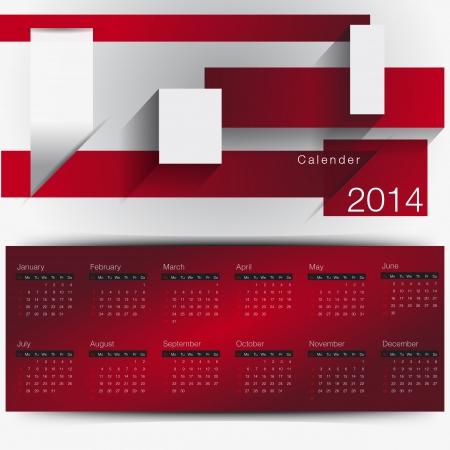 calendar 2014 year minimal red theme
