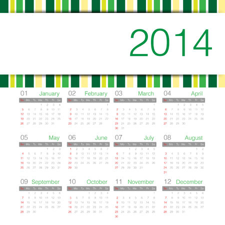 green minimal calendar 2014 year Vector
