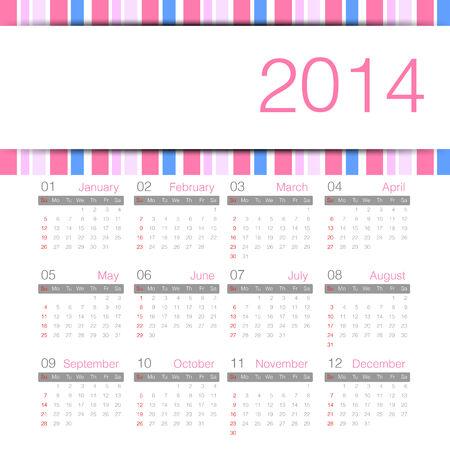 sweety minimal calender 2014 year Vector