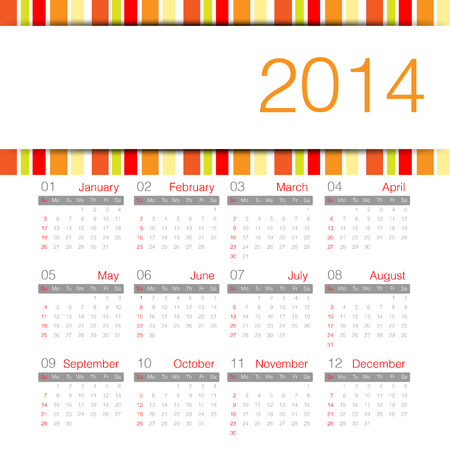 warm tone minimal calendar 2014 year Vector