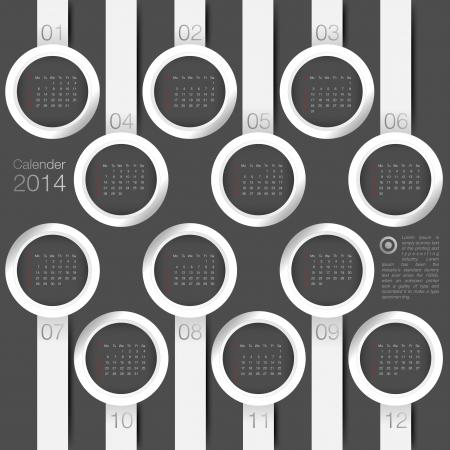 calendar 2014 year circle minimal Vector