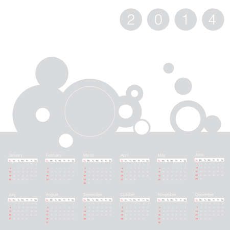 calendar 2014 year simple Vector