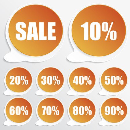 orange paper discount labels Vector