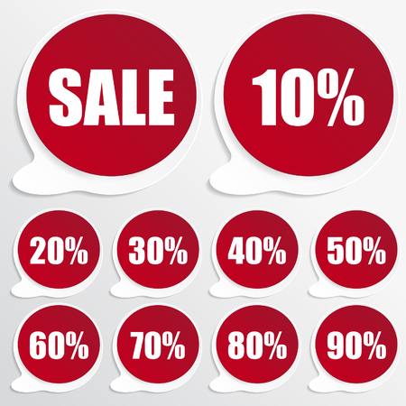 red paper discount labels Vector