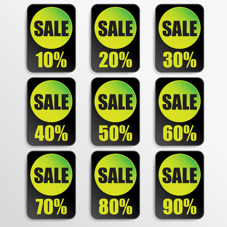 black paper and green paper discount labels Vector