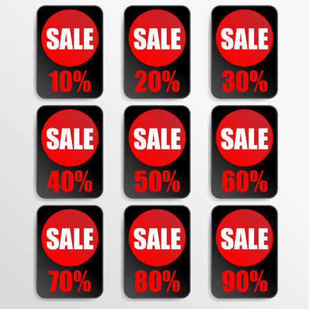 black paper and red paper discount labels Vector