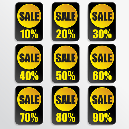 black paper and yellow paper discount labels Vector