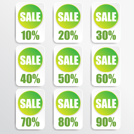 green paper and white paper discount labels Vector