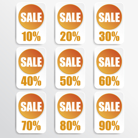 orange paper and white paper discount labels Vector