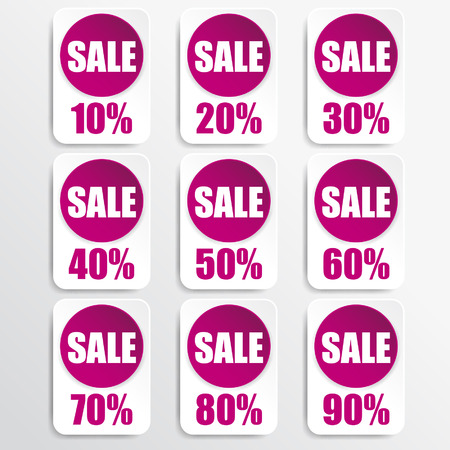 pink paper and white paper discount labels Vector