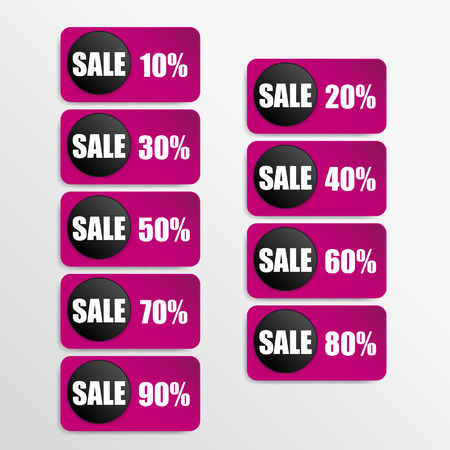 pink paper and black paper discount labels Vector