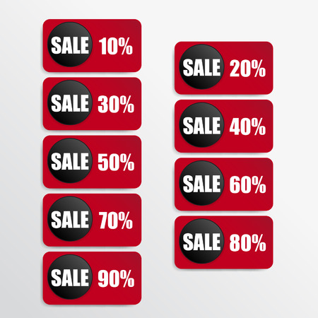 red paper and black paper discount labels Vector