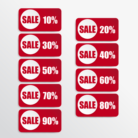 white paper and red paper discount labels Vector