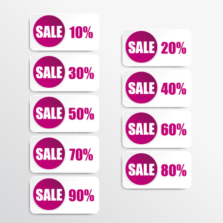 pink paper and white discount labels Vector