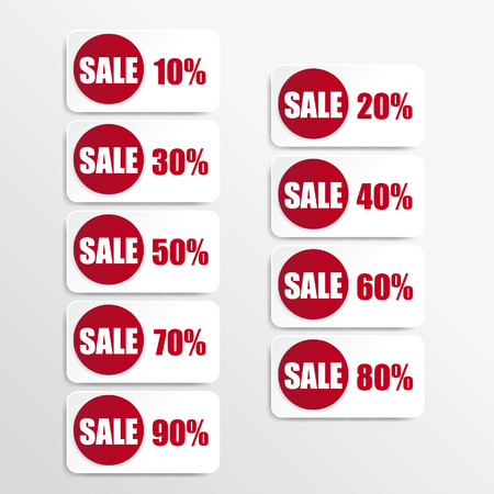red paper and white discount labels Vector