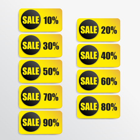 yellow paper and black paper discount labels Vector