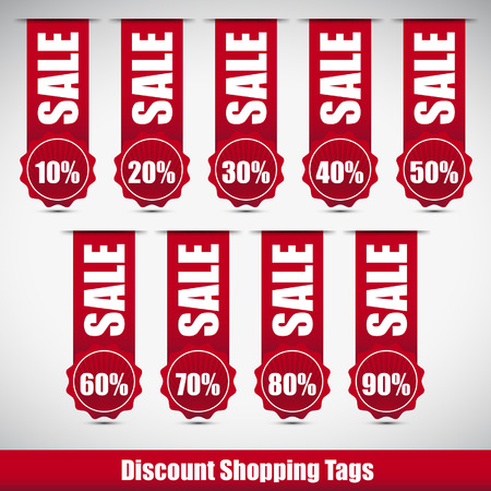 red discount shopping tags with sale word Vector