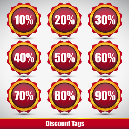 red discount shopping tags set Vector