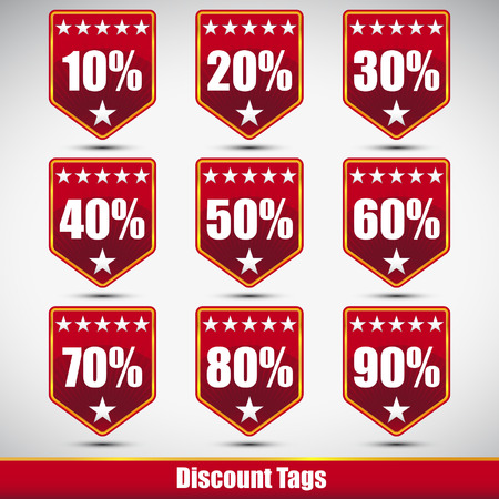 red tags discount shopping set Vector