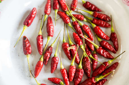 red peppers: Red peppers on dish