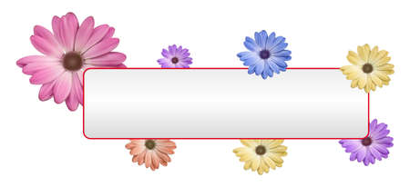 White banner with flower