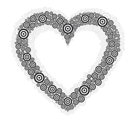 Heart vector illustration with black and gray circles