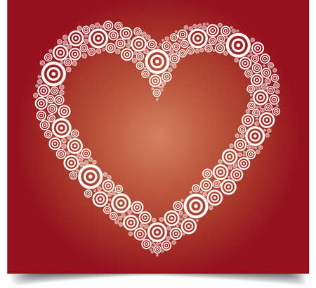 Heart vector illustration with white circles on red background Illustration