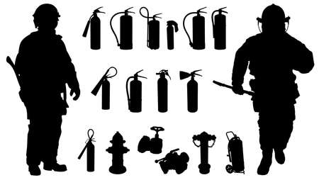 Two fireman, 11 Fire extinguisher, hydrants and other accessories silhouette Vector