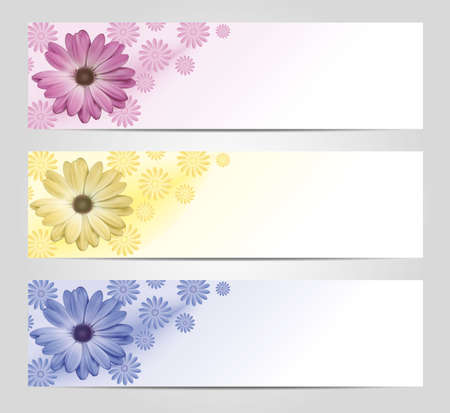 Pink, yellow and blur banner with flowers  Vector
