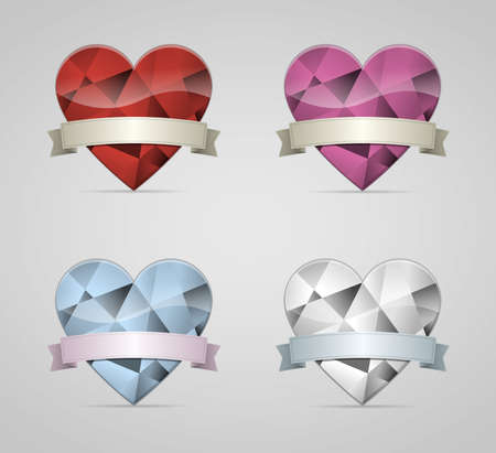 Diamond Hearts set with ribbon banner  Vector