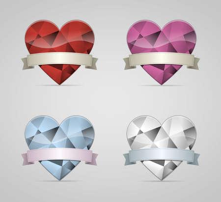Diamond Hearts set with ribbon banner Stock Vector - 19568973