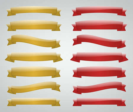 Varies gold and red isolated ribbon with reflection