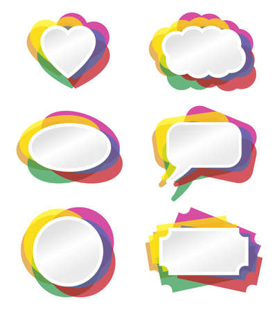 Heart, bubble and other banner vector illustration with colored border