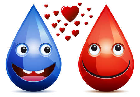 Water drop and drop of blood love - smiling faces  emoticons  on white background  Vector