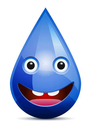 Water drop smiling face  emoticon  on white background