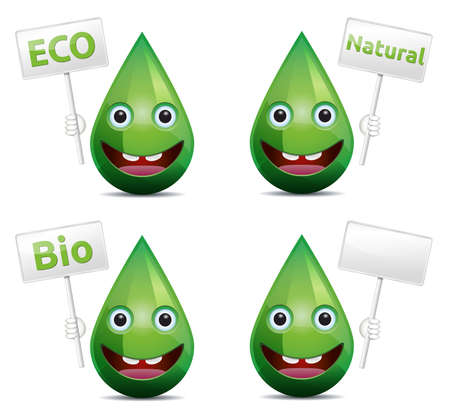 Eco, bio, natural drop smiling face  emoticon  with board banner on white background Stock Vector - 19568979