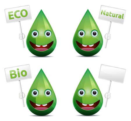 Eko, bio, beyaz zemin üzerine kurulu bayrağı ile doğal damla güler yüz ifade
