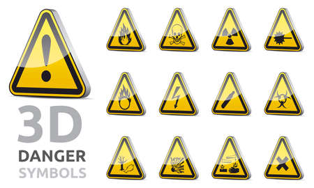 3D isolated vector Triangle danger and warning sign collection with reflection and shadow on white background