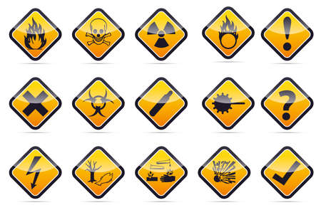 Isolated vector orange Danger sign collection with black border, reflection and shadow on white background
