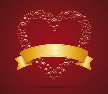 Red vector Heart with gold ribbon for your text  Illustration