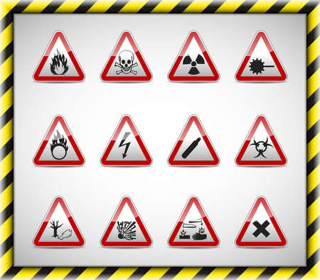 Isolated vector Danger sign collection with reflection and shadow on white background Stock Vector - 19933257