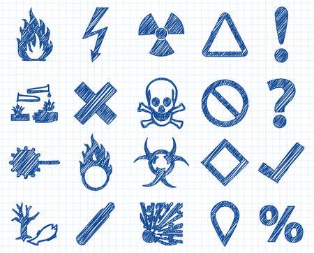 Tehlike, uyarı işareti Doodle illüstrasyon toplama ikon Illustration