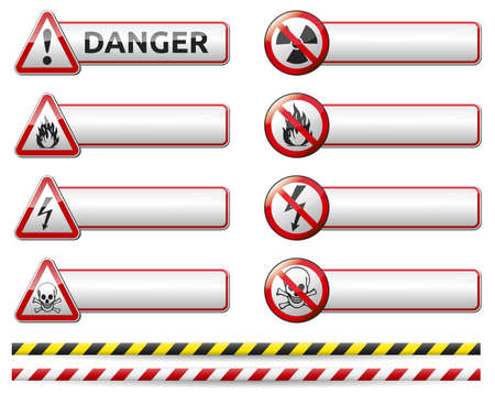 Isolated vector Danger sign banner collection with reflection and shadow on white background for your text