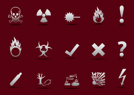 oxidant: Isolated  Danger sign collection with light gradient and shadow on red background