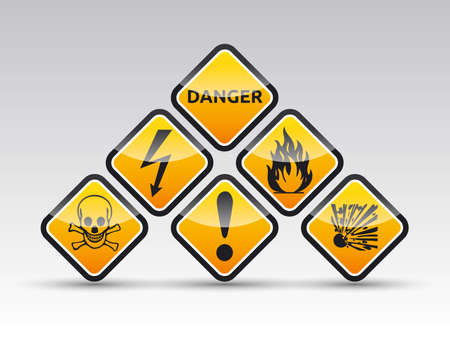 Isolated  orange Danger sign collection with black border, reflection and shadow on white background Illustration