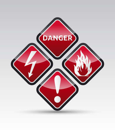 electrical safety: Isolated orange Danger sign collection with black border, reflection and shadow on white background Illustration