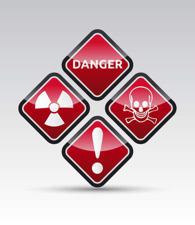 Isolated  orange Danger sign collection with black border, reflection and shadow on white background Vector
