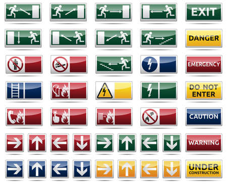 exit emergency sign: Isolated warning, exit, emergency sign collection with reflection and shadow on white background