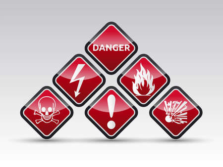 oxidizer: Isolated  orange Danger sign collection with black border, reflection and shadow on white background Illustration